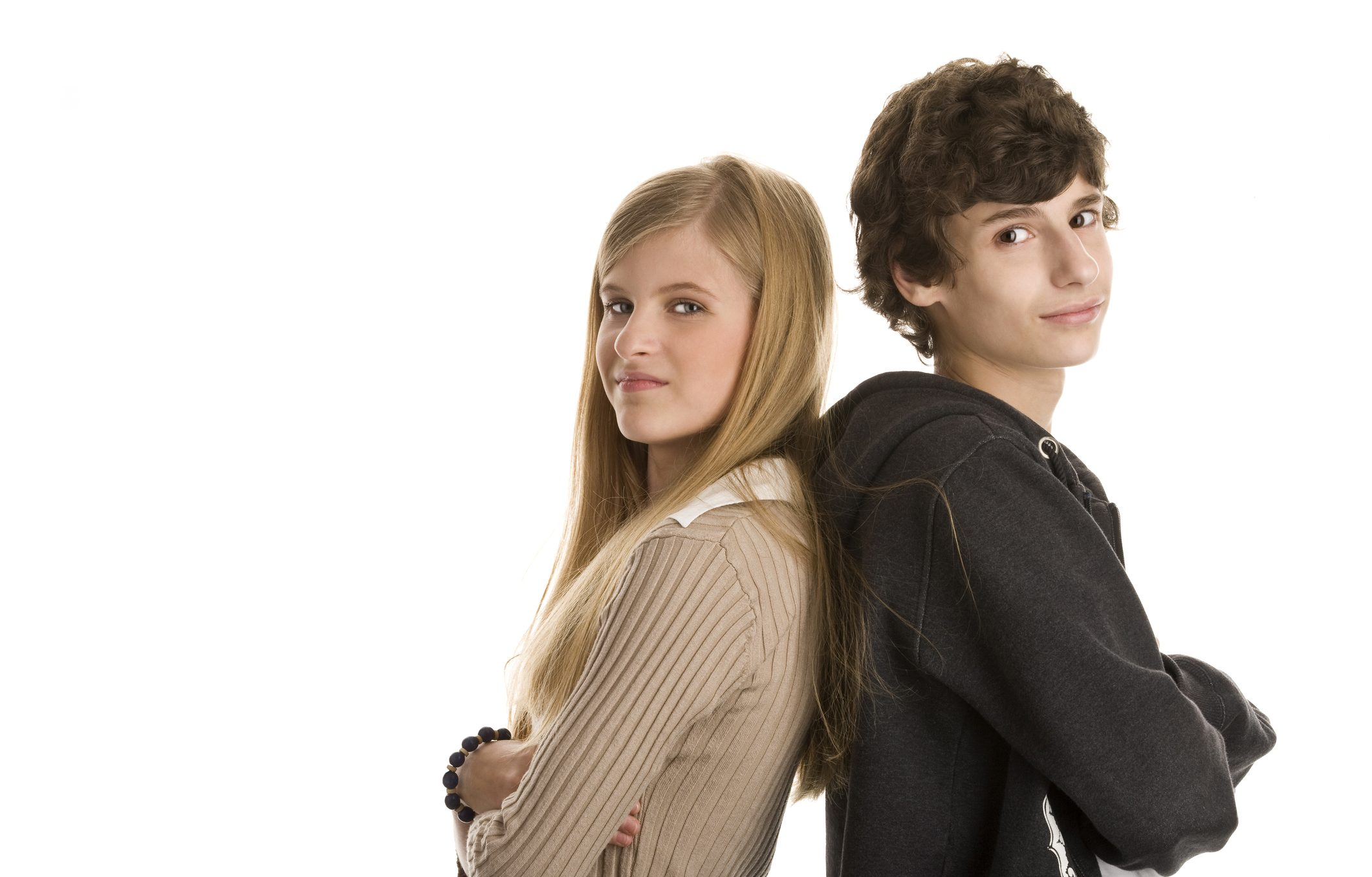 Teenage Couple Standing With Arms Crossed Children S